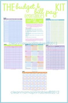 Dominate your bill paying and budget with this EDITABLE Budget & Bill Pay Kit via Clean Mama