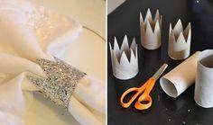 Argola de Guardanapo: use a mesma ideia da coroa para fazer um porta guardanapos usando rolos de papel ou rendas