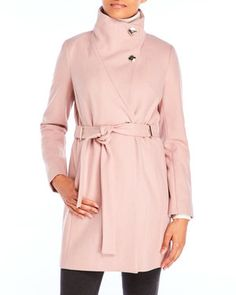 Belted Wool Blend Coat with Funnel Neck