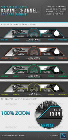 Gaming Channel Youtube Banner Template PSD. Download here: http://graphicriver.net/item/gaming-channel-youtube-banner/8598624?ref=ksioks