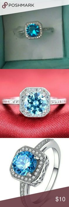 Ring blue and white zircon stones, 925 stamped 925 Sterling Silver Platinum Plated Diamond Engagement Ring   stones:AAA zircon  material:sterling silver  S925 STAMP  Size 8 and 9 available Jewelry Rings