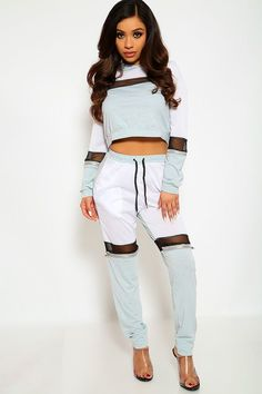 Two Piece Grey White Outfit - March 16 2019 at Hot Outfits, Cute Casual Outfits, Pretty Outfits, Stylish Outfits, Stage Outfits, Modest Fashion, Teen Fashion, Fashion Outfits, Woman Outfits