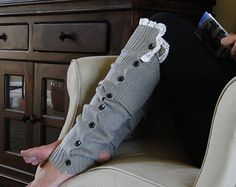 Leg Warmers Knit Boot Socks Heather Gray Off Leg by Liloumariposa