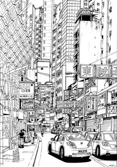 fatlittlenick reference drawing from a photo took while in Hong Kong in May 2010. drawn with black pen on thick paper, 4-5 hours
