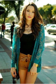 teal cardigan outfit - Google Search