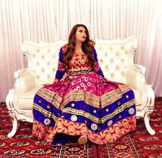latest blue and shocking pink pathani frock style dress designs 2017