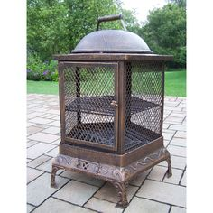 Oakland Living Corporation Lantern Brown Wrought Iron Round Chimenea Fire Pit (Antique Bronze), Outdoor Décor
