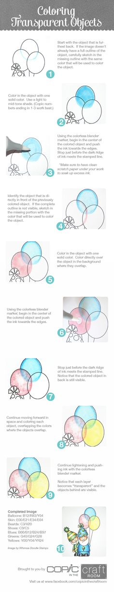 Brought to you by Copic in the Craft Room!  How to color transparent objects.  Image from Whimsie Doodle Stamps.  Visit us at www.facebook.com/copicinthecraftroom Copic Marker Art, Copic Art, Copic Pens, Copic Sketch, Coloring Tips, Coloring Pages, Adult Coloring, Coloring Tutorial, Color Blending