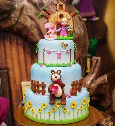 Baby Birthday Cakes, Bear Birthday, 3rd Birthday Parties, Birthday Party Decorations, 2nd Birthday, Masha Et Mishka, Marsha And The Bear, Bolo Fack, Bear Cakes