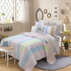 Tara Stripe Pink 3-piece Quilt Set | Overstock™ Shopping - The Best Prices on Kids' Quilts