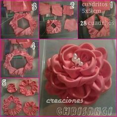 How to make simple Fabric Roses DIY tutorial instructions, How to, how to do, di Ribbon Embroidery Tutorial, Ribbon Flower Tutorial, Silk Ribbon Embroidery, Embroidery Thread, Embroidery Patterns, Ribbon Art, Fabric Ribbon, Ribbon Crafts, Satin Ribbon Roses