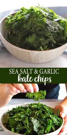 These Sea Salt and Garlic Kale Chips are the perfect easy-to-make snack with a healthy crunch! Theyre easy to make with basic ingredients and theyre a great healthy snack for on the go! Easy To Make Snacks, Quick Healthy Meals, Healthy Drinks, Healthy Dinner Recipes, Healthy Eating, Cooking Recipes, Healthy Sweets, Kids Healthy Lunches, Healthy Snack Recipes