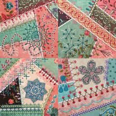 Crazy Quilt Series 4 Part 3 crazy quilt embroidery machine designs! This series features lots of flowers is very busy and has a more Victorian look. 4 blocks are finished with an applique edge and… Crazy Quilt Tutorials, Quilting Tutorials, Quilting Projects, Quilting Ideas, Quilting Board, Quilting Templates, Quilt Patterns Free, Quilting Designs, Patchwork Designs