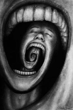(2) by Sebmaestro  //  La peinture décrit une personne avec des problèmes psychologiques tels que la schizophrénie, la folie, la dépression ou d'autres problèmes mentaux. Son cri sans fin fait que son propre esprit le mange.