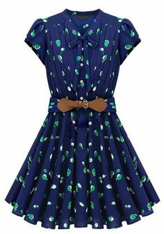 Blue Apple Print Pleated Lotus Sleeve Chiffon Dress