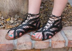 Laced gladiator sandals