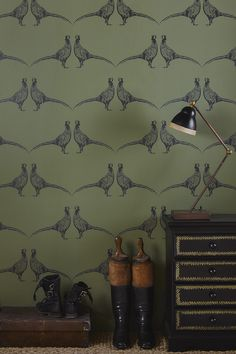 "With the re-introduction of wallpaper into modern day interior design, creating a ""feature wall"" or redecorating an entire room has […] Salons Cottage, Animal Print Wallpaper, Fabric Wallpaper, Stag Wallpaper, Quirky Wallpaper, Cottage Wallpaper, Hallway Wallpaper, Cloakroom Wallpaper, Wildlife Wallpaper"