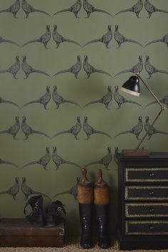 Pheasant Wallpaper Camo Green