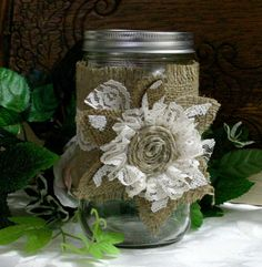 Burlap wedding jar  Burlap wedding decor Burlap by Bannerbanquet, $10.00
