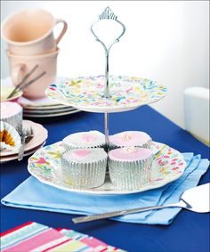 This pretty cake stand is crafted from just a couple of plates, find out how to make your own with issue three!