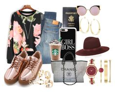Yonce on the Go by jocelyn-michelle-1 on Polyvore featuring polyvore, fashion, style, Citizens of Humanity, Chanel, Mark Cross, Anne Klein, Lana, Casetify, Janessa Leone, Fendi and clothing