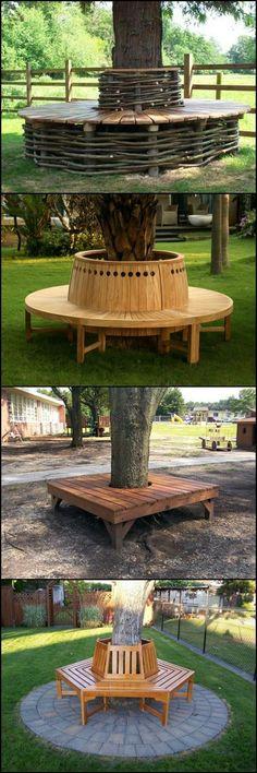 Voici différents exemples à recopier si vous souhaitez créer un banc autour du tronc d'un arbre.  Il existe aussi des modèles prêts à poser dans le commerce : #Outdoor #Seating
