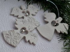 Easy Christmas Salt Dough For Christmas Decorations . Make Your Own Salt Dough Christmas Ornaments With Your Kids they are a super fun craft for the whole Salt Dough Christmas Decorations, Christmas Ornaments To Make, Christmas Angels, Handmade Christmas, Holiday Crafts, Christmas Christmas, Holiday Decor, Polymer Clay Ornaments, Dough Ornaments