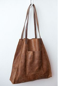 CIBADO leather bags....Entirely hand sewn light brown leather soft slouchy tote…