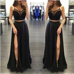 Custom made two pieces chiffon black long prom dress Sexy evening dress