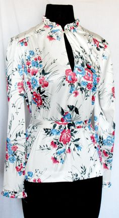 Vintage 1970s Floral Polyester Americana by VarietyVintagebyALD, $22.50