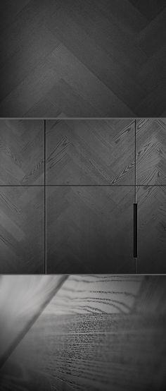 Vinculum from piqu, contemporary kitchen design with the unique grey ash herringbone veneer