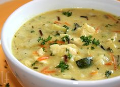 CURRIED WILD RICE & CHICKEN CHOWDER  Per Serving: 167 Cal; 16 g Protein; 7 g Tot Fat; 10 g Carb; 1 g Fiber; 4 g Sugar; 387 mg Sodium    Original recipes featuring:  Low Simple-Carbs  Higher Protein  Low or No Sugar  Family Favorites Made-Over  Happy Healthier Cooking!  BLOG by LINDA F.