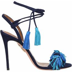 Aquazzura Wild Thing suede sandals (£555) ❤ liked on Polyvore featuring shoes, sandals, blu, suede sandals, tassel shoes, summer shoes, high heel sandals and fringe high heel sandals