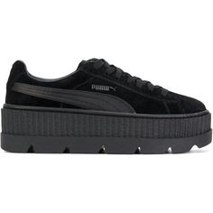 Fenty Creeper Leather Sneakers (260 CAD) ❤ liked on Polyvore featuring shoes, sneakers, clothes - shoes, black, puma shoes, platform sneakers, black trainers, leather shoes and leather sneakers