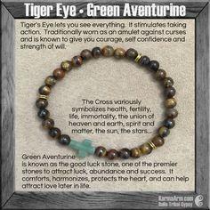 Tiger's Eye • Green Aventurine Cross • Yoga Mala Bead Bracelet