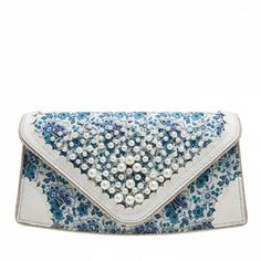 Pearly Girly Clutch ❤ liked on Polyvore featuring bags, handbags, clutches, fancy handbags, fancy purses, floral print handbags, glitter handbag and floral clutches