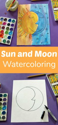Sun and Moon Watercolor Project for Kids This sun and moon watercolor project is an interesting way to explore the contrast of warm and cool colors. #sunandmoon #watercolorproject #artproject #kidsart #kidscraft #craftingwithkids #painting #momblog #creativemamas #makermama #makeandtakes #coloring #paintingwatercolors