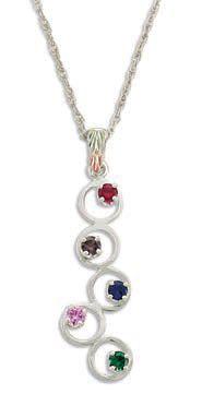 Black Hills Silver Circles Pendant -  2-5 3MM Genuine Birthstones