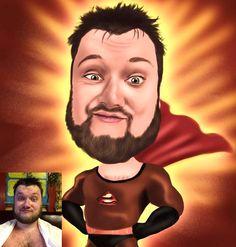 Custom Digitally Illustrated Superhero Caricature - Personalised - Unique Gift - CANVAS, PRINT, DIGITAL - Funny Gift - Birthday Gift - £30.00 - FudgeFace Caricatures