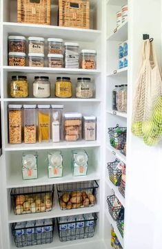 Tiny Pantry, Small Pantry Organization, Home Organisation, Walk In Pantry, Storage Ideas For Pantry, Walkin Pantry Ideas, Organization Hacks, Organising Ideas, Organizing Life