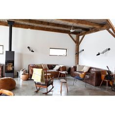 Leather sofa and sconce lighting for rustic living room, yay or nay? #rumahkulivingroom