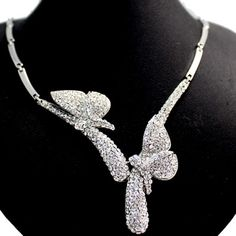 Good Charming Butterfy Wedding Party Gifts Crystals Earring Necklace Set NS2289A