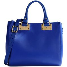 Sophie Hulme Medium Leather Bag ($353) ❤ liked on Polyvore featuring bags, handbags, shoulder bags, purses, bolsas, blue, blue leather purse, genuine leather handbags, mini purse and mini handbags