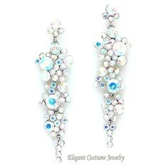 Silver And Ab Long Formal Crystal Earrings Elegant Jewelry Available In 8 Colors 16 99