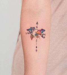 Image result for small watercolor compass tattoo