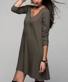This Khaki V-Neck Shift Dress is perfect! #zulilyfinds