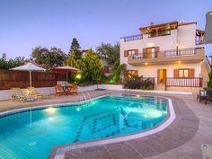 Rethymno villa rental - Villa Eleni-Exterior of the villa with private pool! Villa With Private Pool, Villas, Exterior, Building, Outdoor Decor, Holiday, House, Vacations, Home