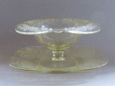 PADEN CITY Yellow Crows Foot Lotus Etch Compote & Underplate Depression Glass