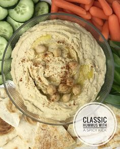 This creamy hummus combines chickpeas, olive oil, garlic, tahini and cumin for a healthier, plant-based protein dip with a spicy kick. Enjoy it with vegetables and pita, or as a spread on crackers, sandwiches and wraps #Hummus #Dips #SpicyHummus #Vegetarian Spicy Hummus, Healthy Hummus, Homemade Hummus, Hummus Recipe, What Is Hummus, Vegetarian Recipes, Healthy Recipes, Healthy Food, Protein Rich Foods