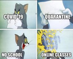 An image tagged tom and jerry pie Funny Cartoon Memes, Very Funny Memes, Funny School Jokes, Cute Funny Quotes, Some Funny Jokes, Funny Laugh, Funny Relatable Memes, Funny Facts, Haha Funny